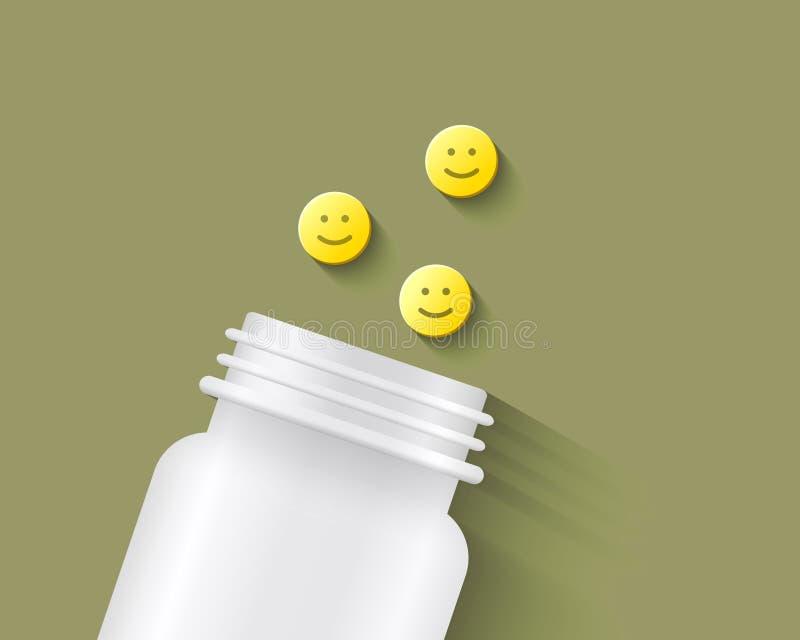 Pigułki z uśmiechniętą twarzą na one ilustracja wektor
