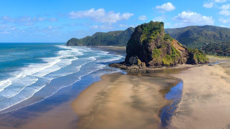 Piha在早晨太阳的海滩和狮子岩石,新西兰 图库摄影