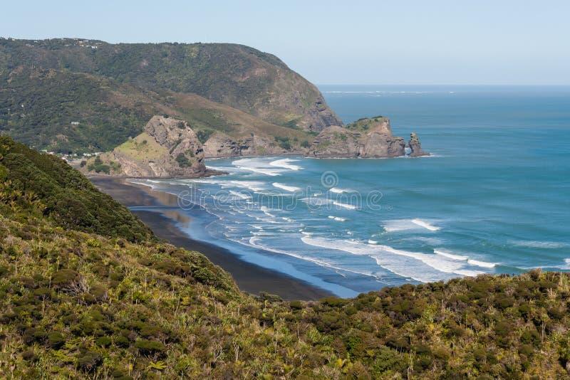 Piha海滩和Waitakere鸟瞰图排列 图库摄影