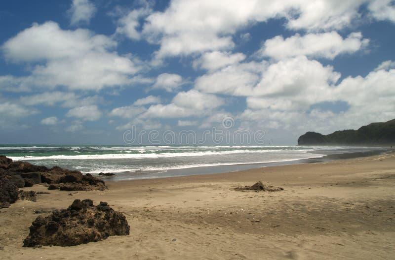 Piha beach. Western shore of Auckland, New Zealand royalty free stock photography