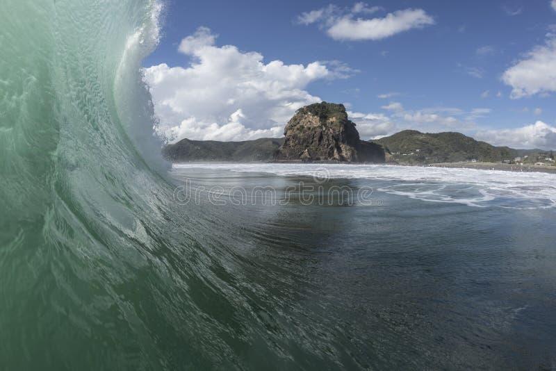 Piha Wave. Piha Beach on Auckland`s West coast is famous for its good surf stock photos
