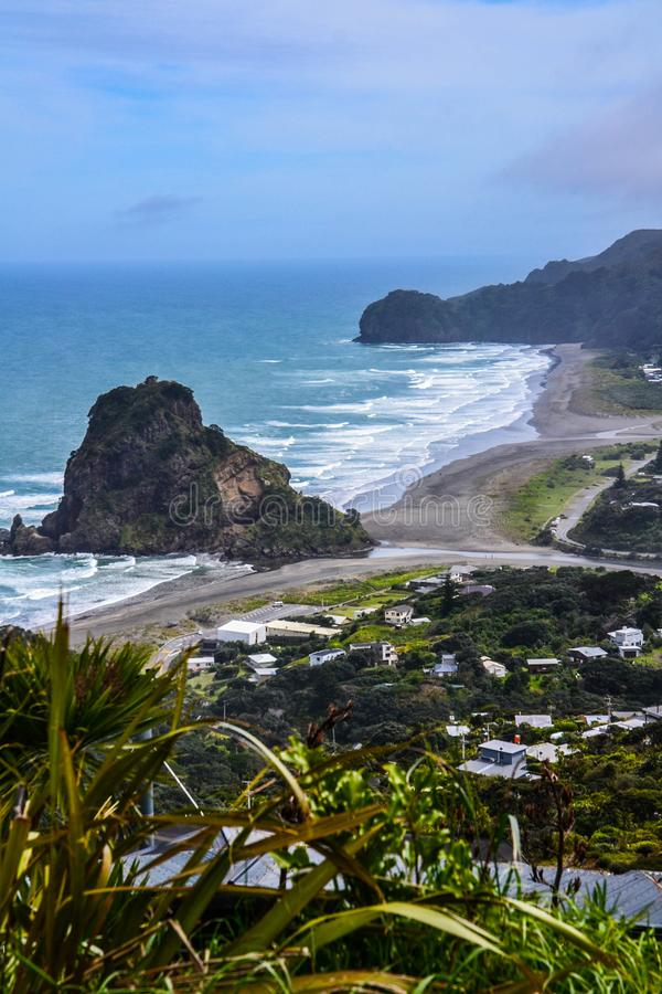 Piha Beach with Lion Rock, New Zealand. New Zeland iconic, famous beaches concept. Panoramic scenic landscape view of surfers popular Piha Beach and Lion Rock in stock image