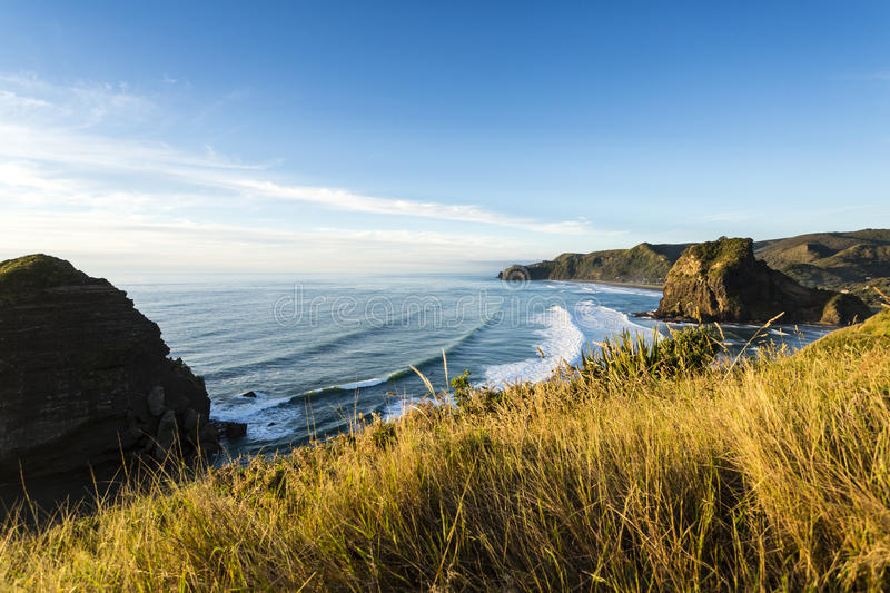 Piha Beach, New Zealand. New Zealand's most famous west coast holiday beach Piha in late afternoon light stock photography