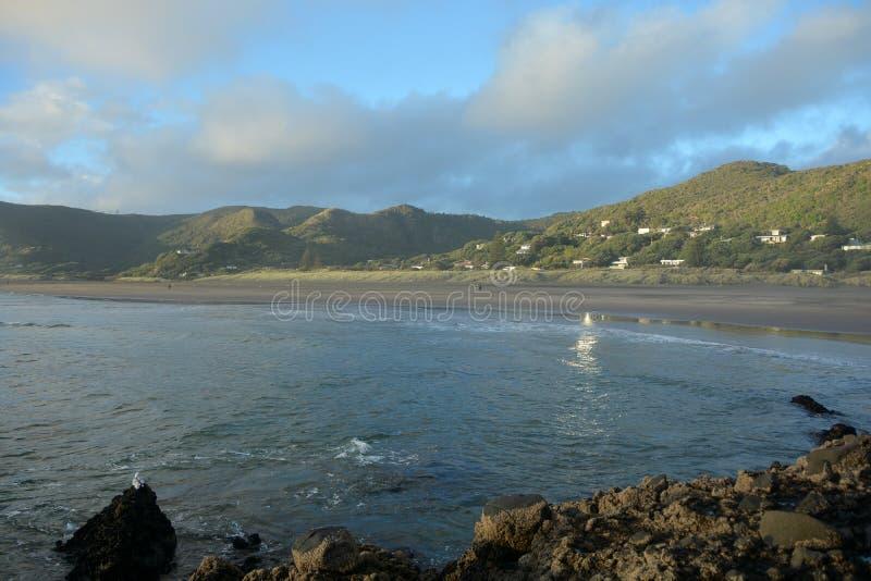 Piha beach in New Zealand stock photography