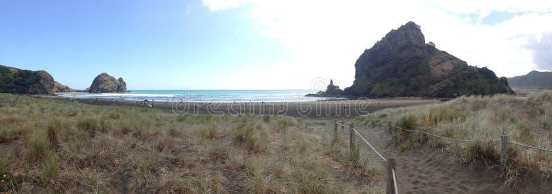 Piha beach. Sand path to Piha beach with the Taitomo Island and lion rock in Piha New Zealand royalty free stock photos