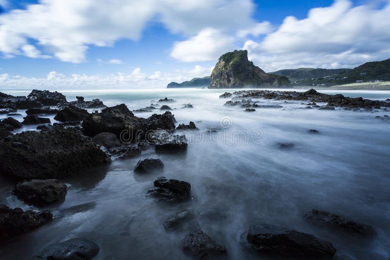 Piha Beach. South Piha, on Auckland's West Coast, is one of New Zealand's most famous surf beaches stock photos