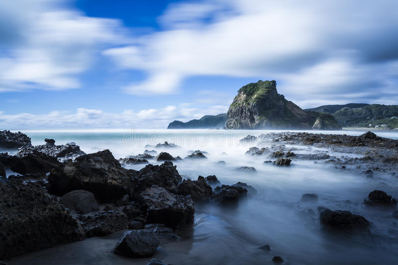 Piha Beach. South Piha, on Auckland's West Coast, is one of New Zealand's most famous surf beaches stock photo