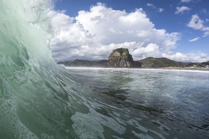Piha Surf. Piha Beach on Auckland`s west coast, New Zealand is famous for its great surf royalty free stock photo