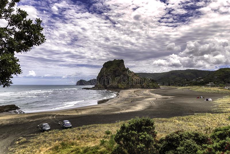 Piha wyrzucać na brzeg widok, westernu Auckland wybrzeże, Nowa Zelandia zdjęcia royalty free