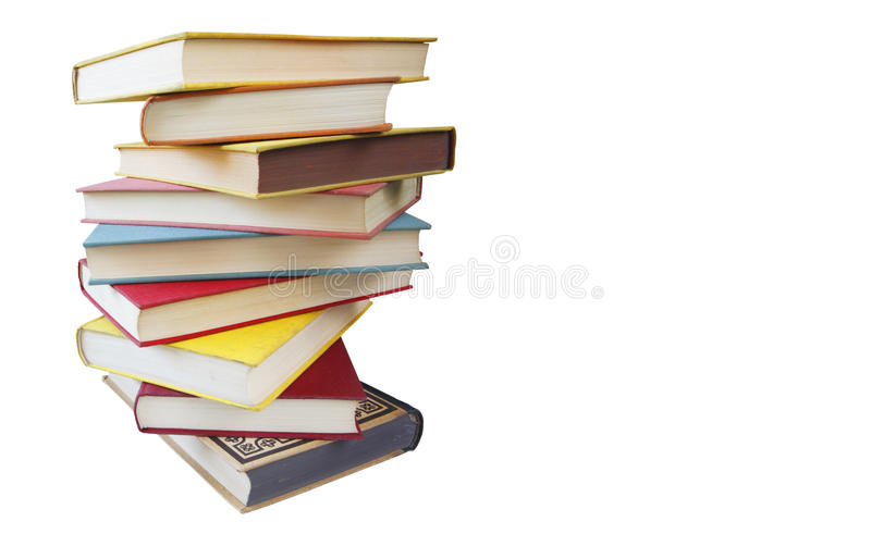 Piile van uitstekende geïsoleerde= boeken, het knippen weg stock afbeelding