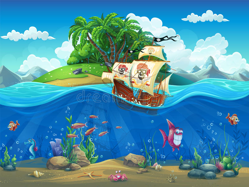 Piirate ship on background of tropical island royalty free illustration