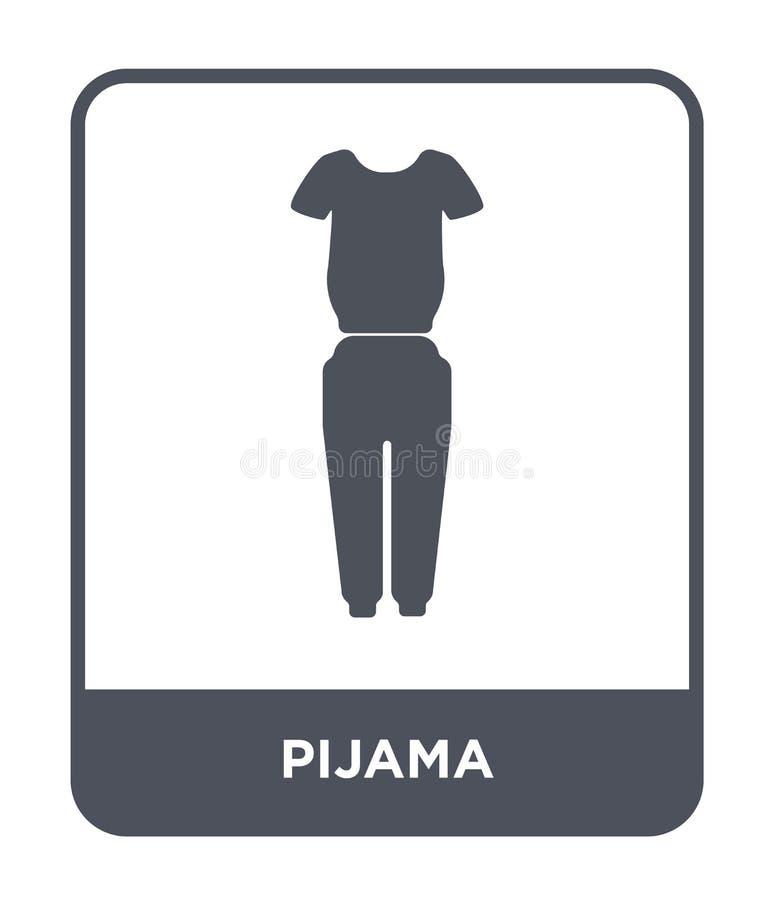 pijamapictogram in in ontwerpstijl pijamapictogram op witte achtergrond wordt geïsoleerd die eenvoudige en moderne vlakke symbool stock illustratie