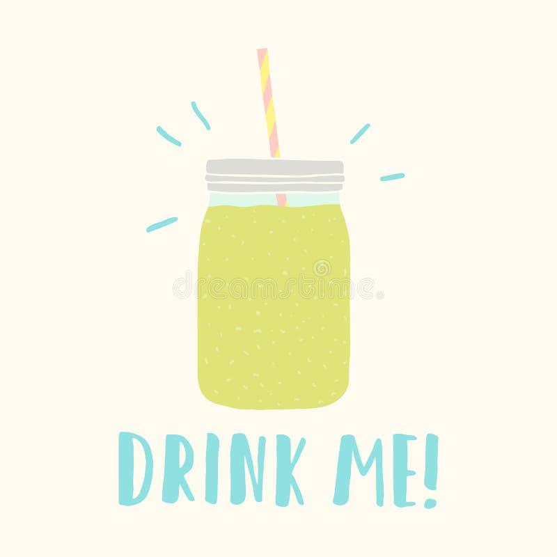 Pije ja Kamieniarza słój z zielonym smoothie ilustracji
