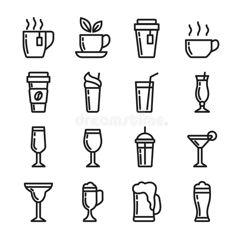 Pije wektorowe ikony ustawiać Zawiera ikony filiżankę herbata, kawa, szkło dla piwa, wino, koktajl i alkohol, 48x48 piksle ilustracji