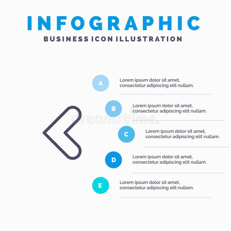 Pijl, Achter, Achterwaarts, Linkerlijnpictogram met infographicsachtergrond van de 5 stappenpresentatie royalty-vrije illustratie