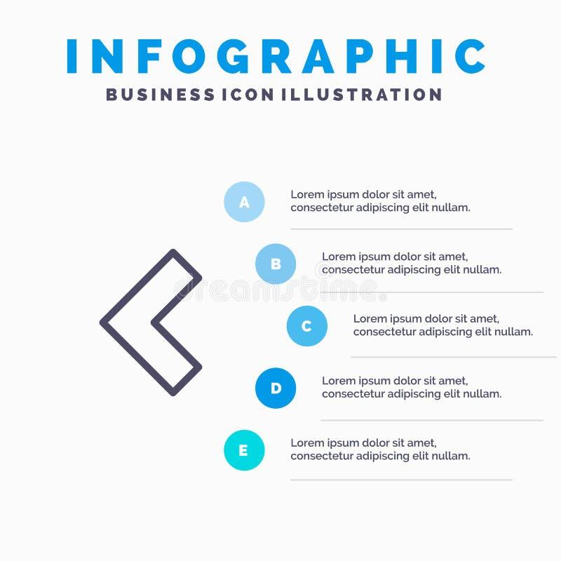 Pijl, Achter, Linkerlijnpictogram met infographicsachtergrond van de 5 stappenpresentatie royalty-vrije illustratie