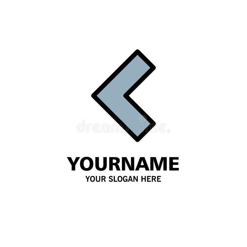 Pijl, Achter, Linkerzaken Logo Template vlakke kleur royalty-vrije illustratie