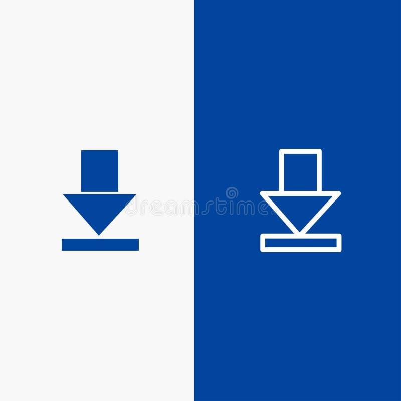 Pijl, Dawn, Downloadlijn en Lijn van de het pictogram Blauwe banner van Glyph de Stevige en Stevige het pictogram Blauwe banner v vector illustratie
