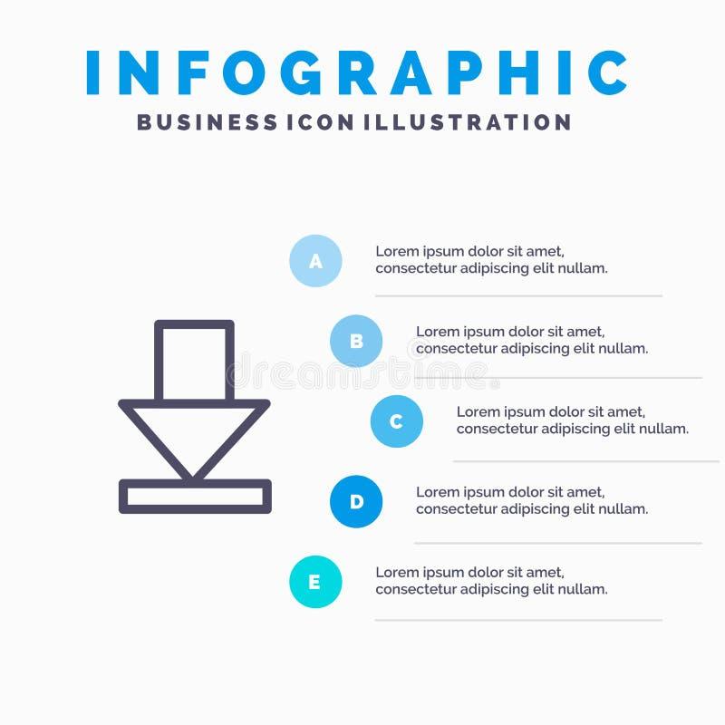 Pijl, Dawn, het pictogram van de Downloadlijn met infographicsachtergrond van de 5 stappenpresentatie vector illustratie