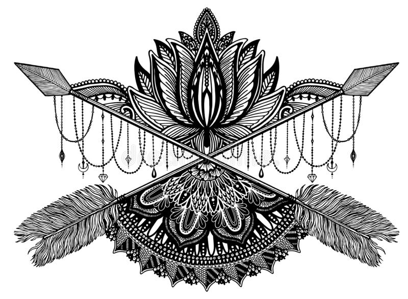 Pijl die amulet in ethisch en mandala kruisen en lotusbloem in stijltatoegering r royalty-vrije illustratie