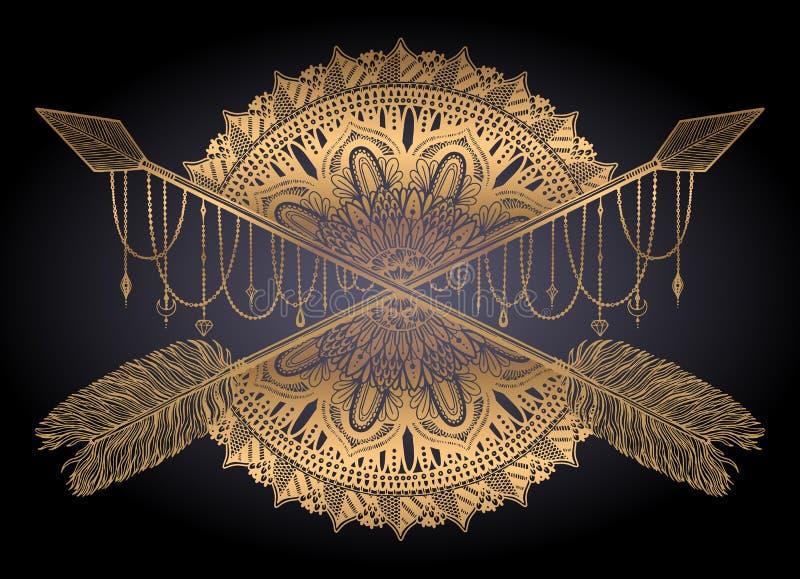 Pijl die amulet in ethisch en mandala in stijltatoegering kruist Gouden kleur grafisch op zwarte achtergrond royalty-vrije stock foto's