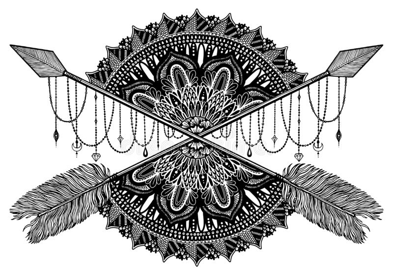 Pijl die amulet in ethisch en mandala in stijltatoegering kruist r stock afbeelding