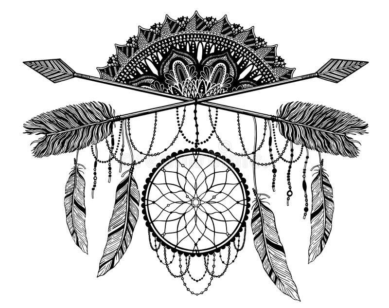 Pijl die amulet in ethisch en mandala in stijltatoegering kruist r vector illustratie