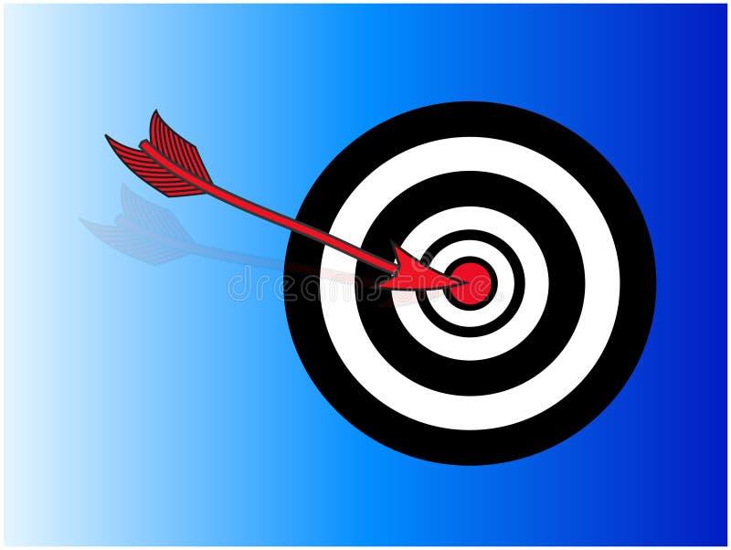 Pijl die bullseye raakt vector illustratie