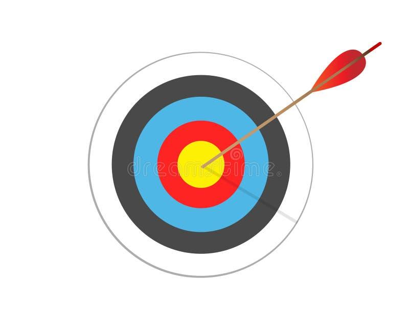 Pijl die doel raakt Bedrijfs concept Doel met pijl, die zich op een driepoot bevinden stock illustratie