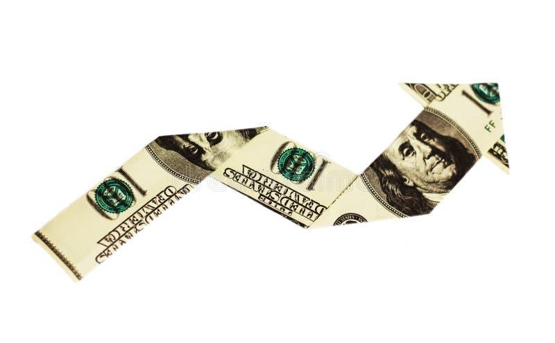 Pijl die van dollars wordt gemaakt royalty-vrije stock afbeelding