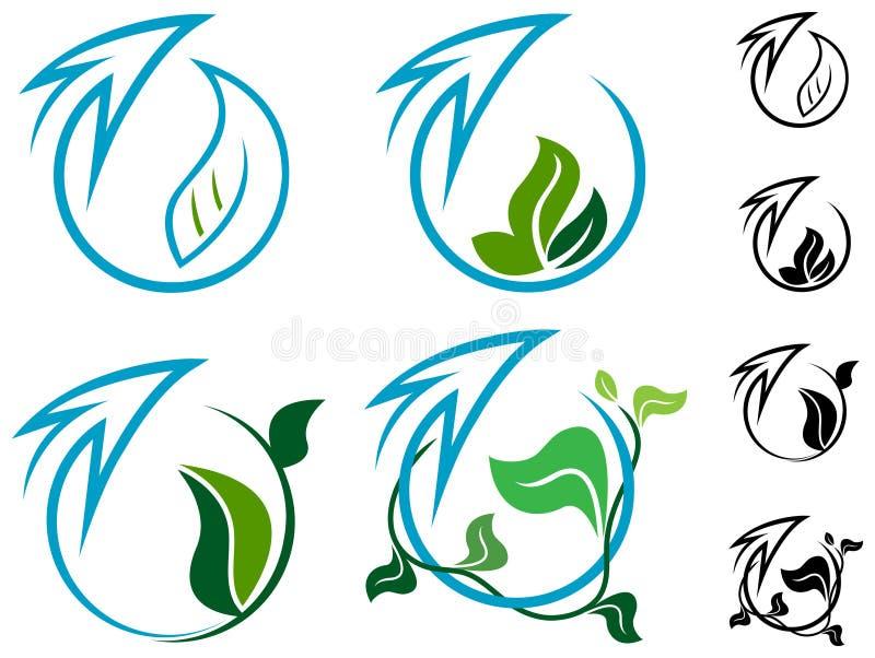 Pijl en bladeren stock illustratie
