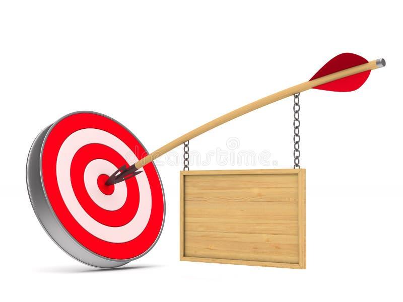 Pijl en dartboard op witte achtergrond Geïsoleerde 3D illustratio vector illustratie