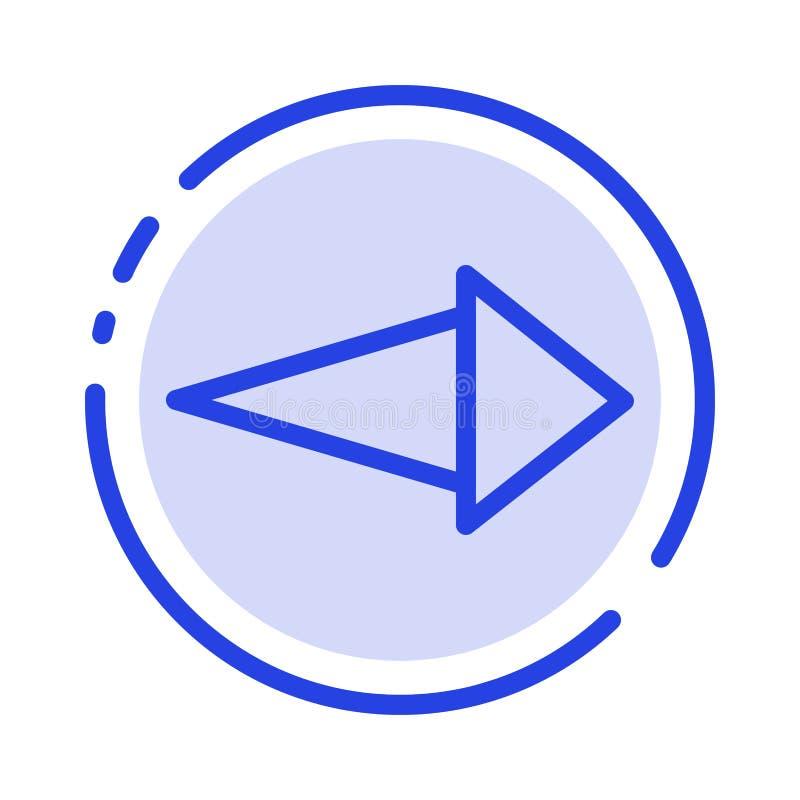Pijl, het Juiste, daarna Blauwe Pictogram van de Gestippelde Lijnlijn royalty-vrije illustratie