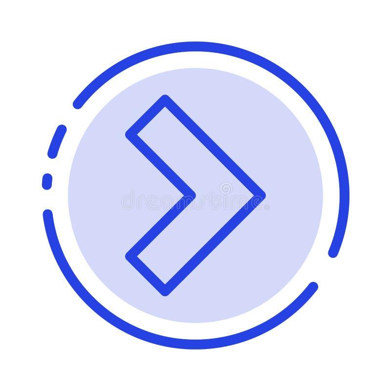 Pijl, het Juiste, daarna Blauwe Pictogram van de Gestippelde Lijnlijn stock illustratie