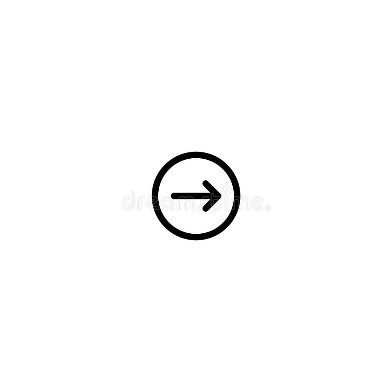 Pijl Juist vector rond gemaakt pictogram De beeldstijl is een vlak pictogramsymbool binnen een cirkel, zwarte kleur, witte achter royalty-vrije illustratie