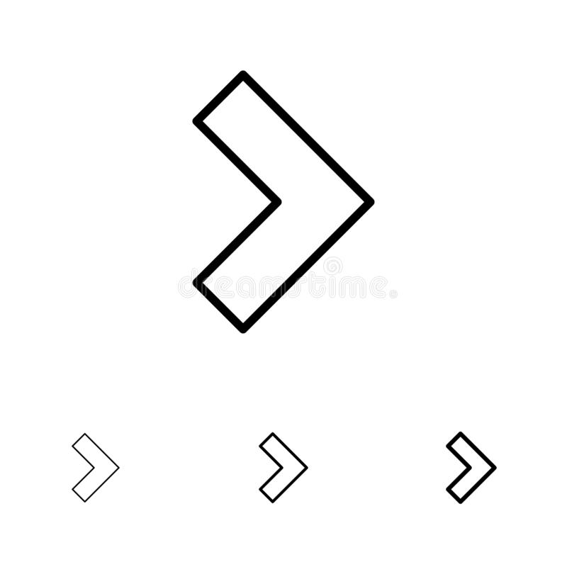 Pijl, Juiste, daarna Gewaagde en dunne zwarte van het lijnpictogram reeks royalty-vrije illustratie