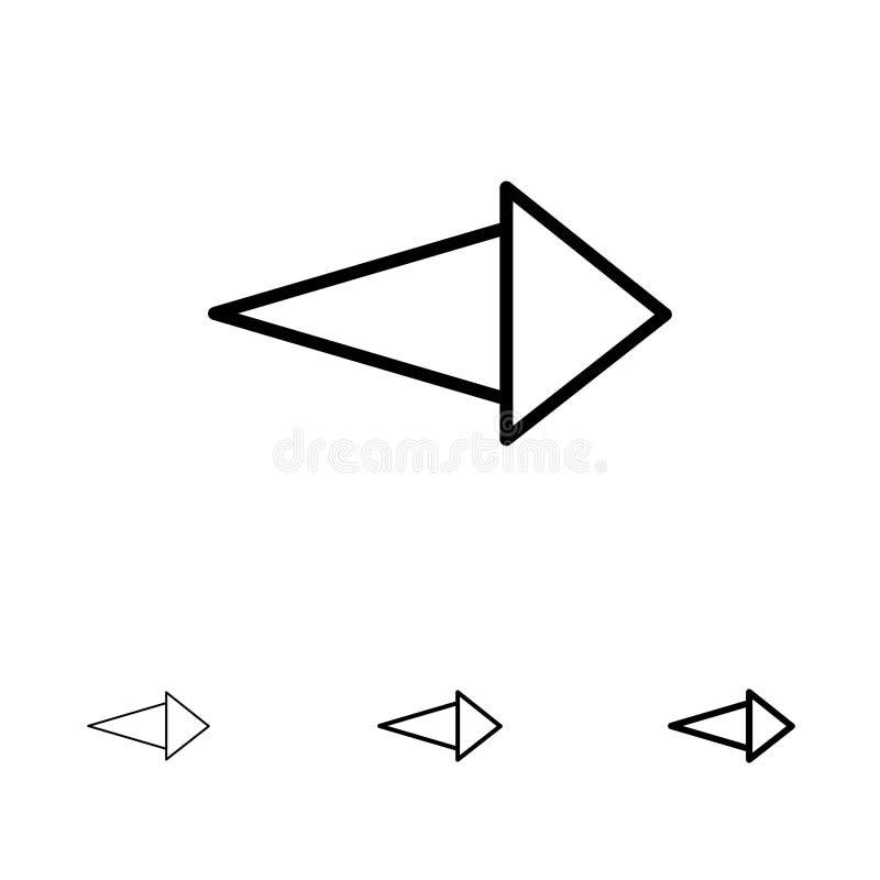 Pijl, Juiste, daarna Gewaagde en dunne zwarte van het lijnpictogram reeks stock illustratie