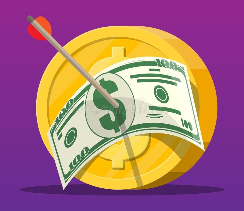 Pijl met dollarbankbiljet in muntstukdoel vector illustratie