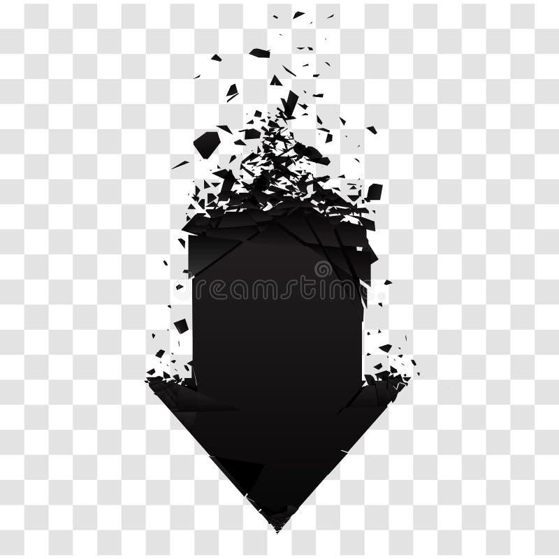 Pijl met geïsoleerd puin Zwart teken met explosieeffect Vector illustratie vector illustratie