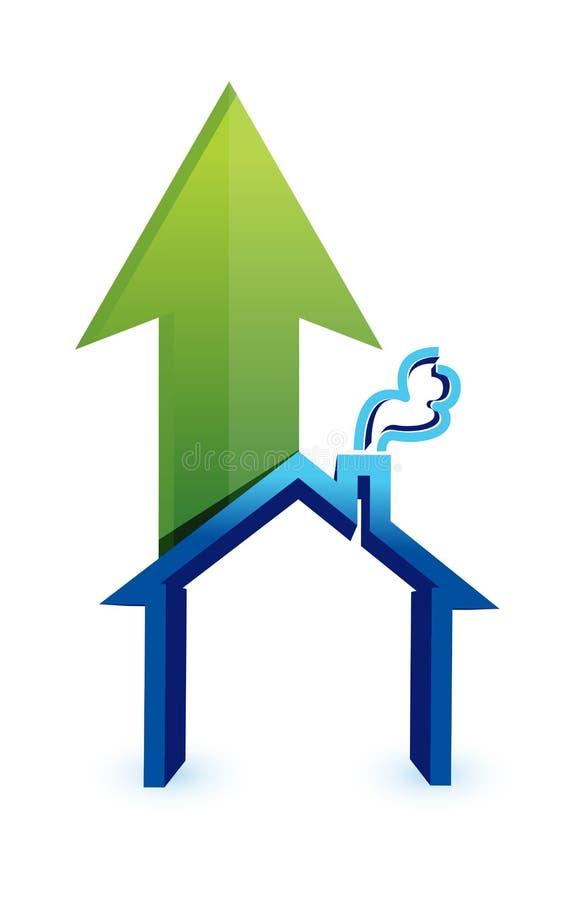 Pijl met huis. toenemende prijzen in woningmarkt stock illustratie