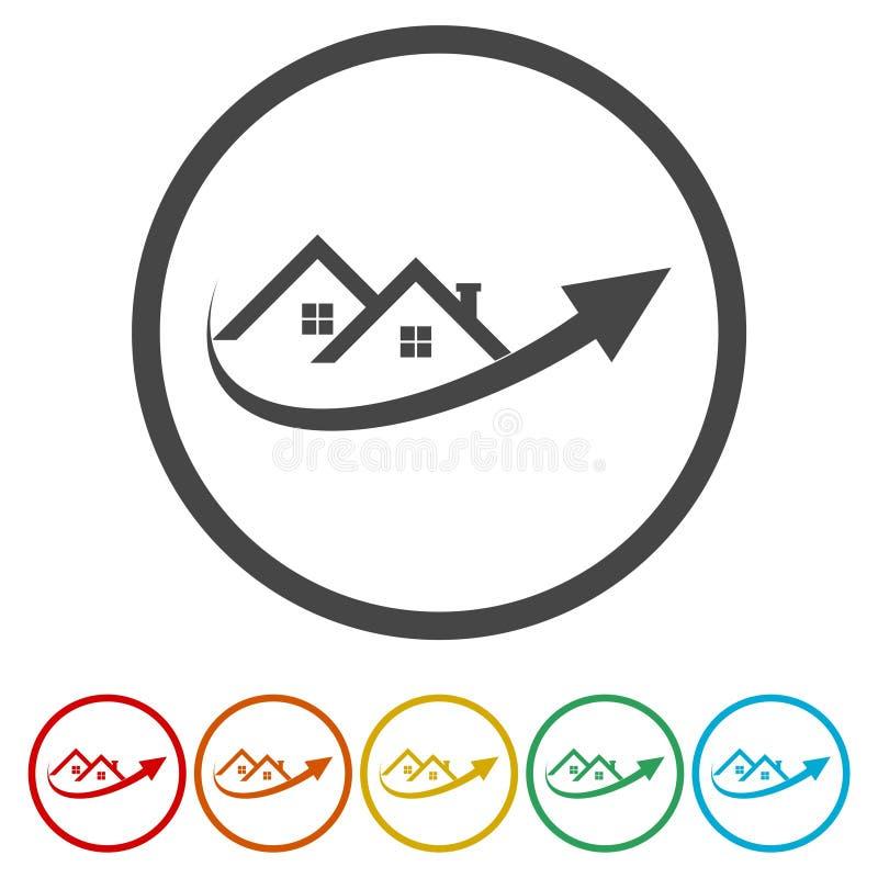Pijl omhoog en huis abstract vector en embleemontwerp royalty-vrije illustratie