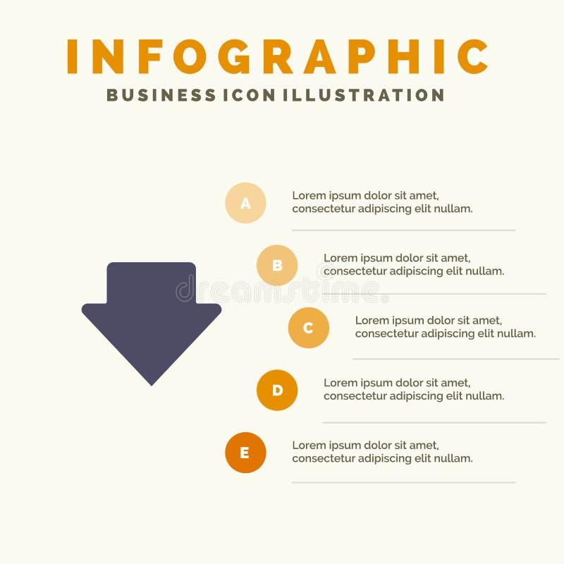 Pijl, onderaan, Download Stevig Pictogram Infographics 5 de Achtergrond van de Stappenpresentatie stock illustratie