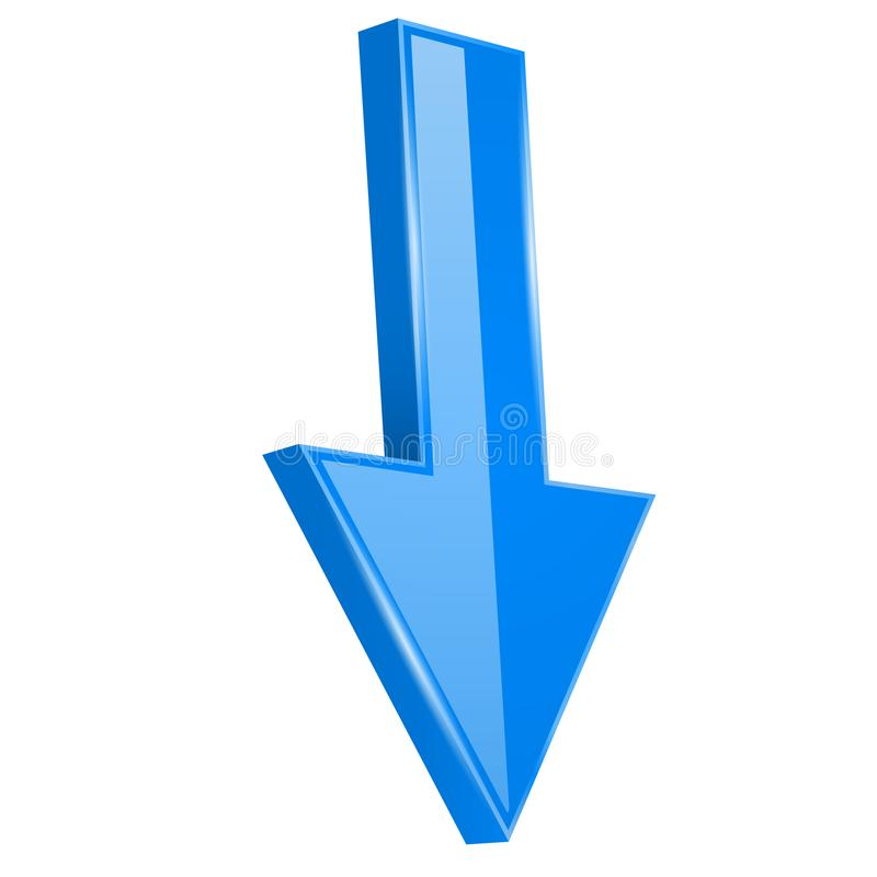 pijl Onderaan rechtstreeks blauw 3d glanzend teken royalty-vrije illustratie