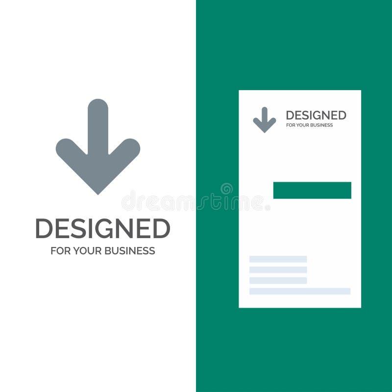 Pijl, onderaan, Richting, Download Grey Logo Design en Visitekaartjemalplaatje stock illustratie