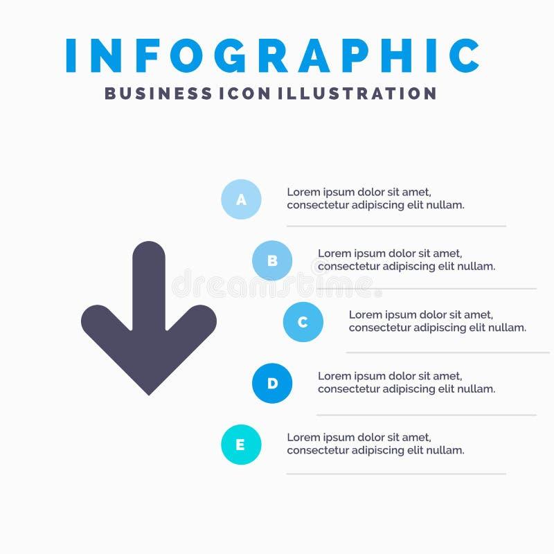 Pijl, onderaan, Richting, Download Stevig Pictogram Infographics 5 de Achtergrond van de Stappenpresentatie stock illustratie
