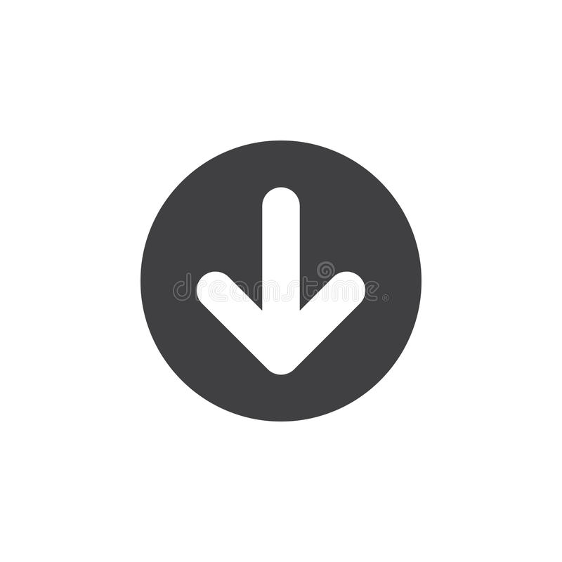 Pijl onderaan vlak pictogram Ronde eenvoudige knoop, cirkel vectorteken vector illustratie