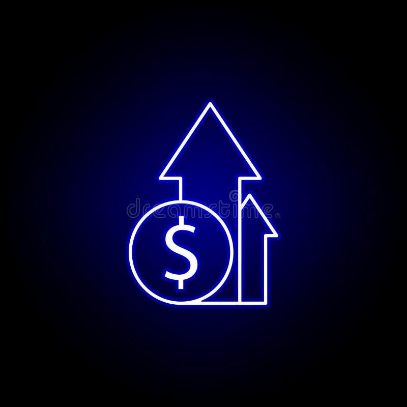 pijl op dollarpictogram in neonstijl Element van financi?nillustratie Tekens en symbolen het pictogram kan voor Web, embleem, mob royalty-vrije illustratie