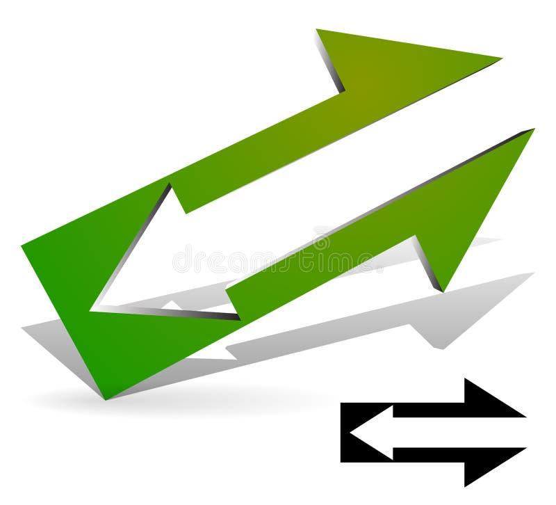 Pijl in Pijl Inbegrepen symbool stock illustratie