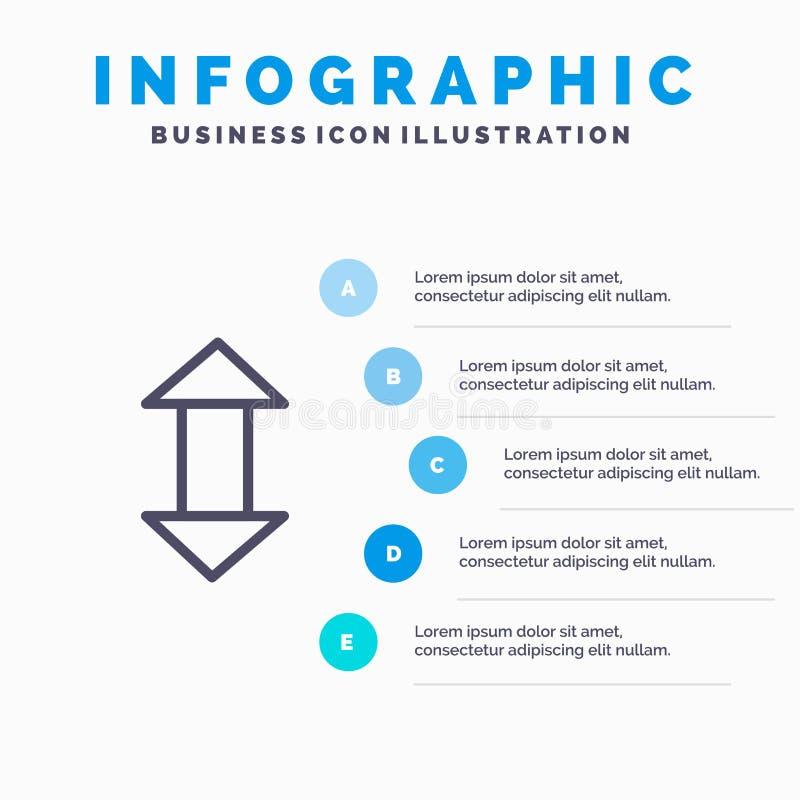 Pijl, Pijlen, omhoog, onderaan Lijnpictogram met infographicsachtergrond van de 5 stappenpresentatie royalty-vrije illustratie