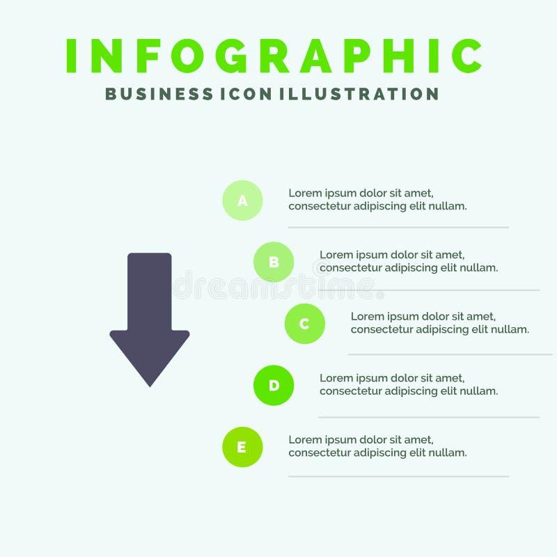 Pijl, Pijlen, onderaan, Download Stevig Pictogram Infographics 5 de Achtergrond van de Stappenpresentatie stock illustratie
